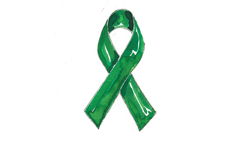 Mental Health Foundation green ribbon logo sketch
